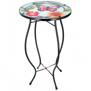 Arti Casa mosaic table butterfly flower multicolor 30x30x54 cm