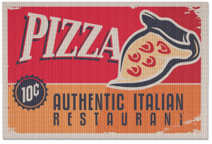 Balvi placemats Pizza 30,5 x 46 cm polyester rood 2 stuks