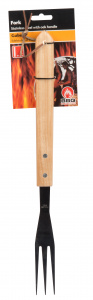 BBQ Collection barbecue fork luxury oak 41 cm black