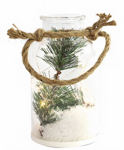White label Decoratie pot met led kersttak 17,5 cm glas
