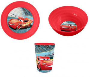 Disney serviesset Cars junior rood 3-delig