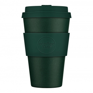 Ecoffee Cup koffiebeker bamboe/siliconen 400 ml donkergroen