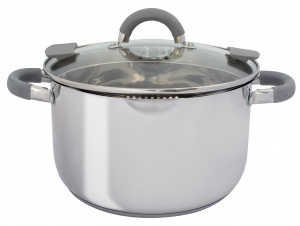 Eurotrail pan with lid 4Gerona,5 litre steel silver
