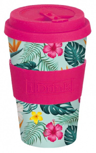 I-Drink thermos cup Tropical 435 ml bamboo pink