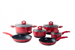 Mischler Cook cookware set Forged aluminium/glass red 10-piece-S