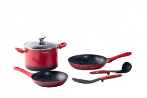 Mischler Cook cookware set Forged aluminium/glass red 6-piece