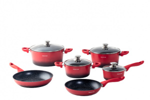 Mischler Cook cookware set Forged aluminium/stainless steel red 10-piece