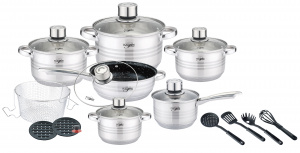 Platinum cookware set stainless steel silver 13-piece