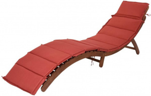 Pro Garden loungebed 179 x 64 cm hout donkerbruin/rood 2-delig