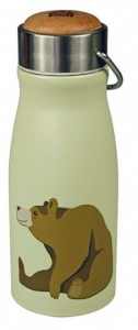 The Zoo drinkbeker Brown Bear 300 ml RVS groen/zilver