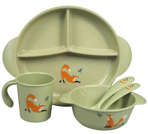 The Zoo serviesset Eco-Kids Fox 20 cm PLA groen/oranje 5-delig