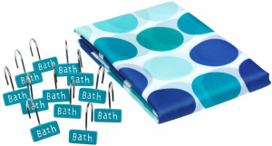 TOM shower curtain 180 cm textile blue 13-part