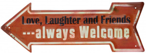 TOM stalen bordje pijl 'always welcome' 40x14 cm rood