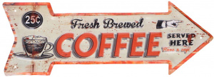 TOM stalen bordje pijl 'Fresh Brewed Coffee' 40x14 cm wit/oranje