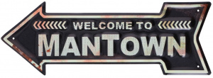 TOM stalen bordje pijl 'welcome to mantown' 40x14 cm zwart