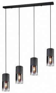 Trio hanglamp Robin 80 cm staal/glas zwart/transparant