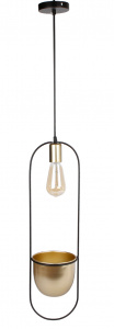 Van Manen oval pendant lamp 'Martijn' 16x15x60 cm metal black/gold