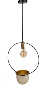 Van Manen round hanginglight 'Martijn' 30x15x45 cm metal black/gold