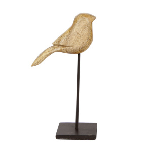 Gifts Amsterdam vogel op standaard 6,5 x 6,5 x 20 cm hout/staal naturel