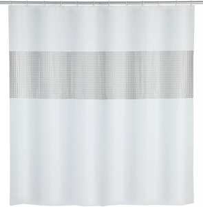 Wenko shower curtain 200 x 180 cm EVA white/grey