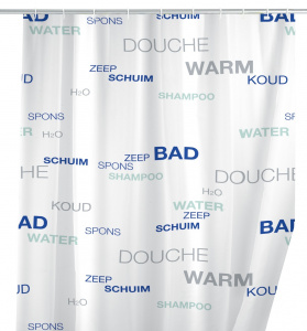 Wenko shower curtain Water 180 x 200 cm peva white/blue