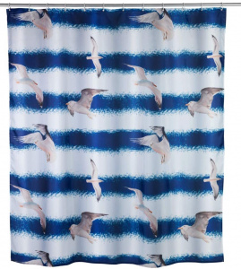 Wenko shower curtain Zeemeeuw180 x 200 cm polyester blue/white
