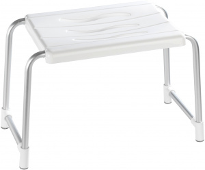 Wenko shower stool Secura 32 x 50 cm aluminium silver/white