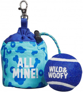 Wild & Woofy speelbal Fetch & Treat nylon/rubber blauw 2-delig