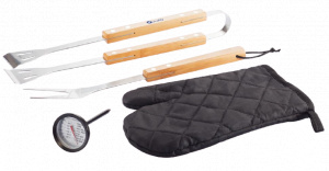 XD Collection barbecueset 26,6 cm RVS/hout zwart 4-delig