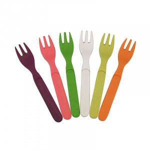 Zuperzozial forks Rainbow 13,5 cm bamboo 6 pieces