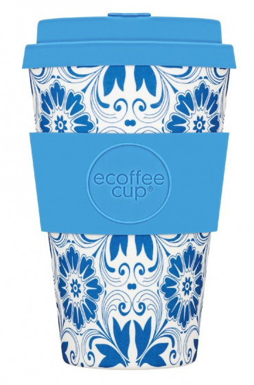 Ecoffee Cup koffiebeker Delft Touch 400 ml bamboe lichtblauw