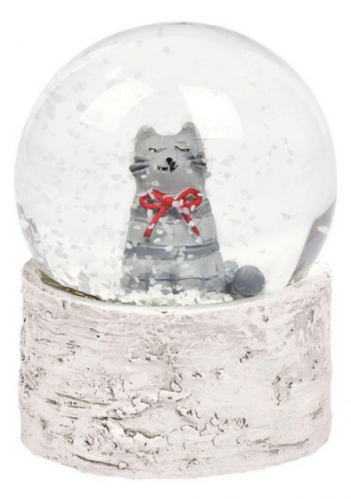 Moses kerst-sneeuwbol poes 6 cm wit/grijs