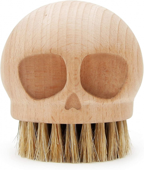 Suck UK borstel Skull 5,5 cm hout naturel
