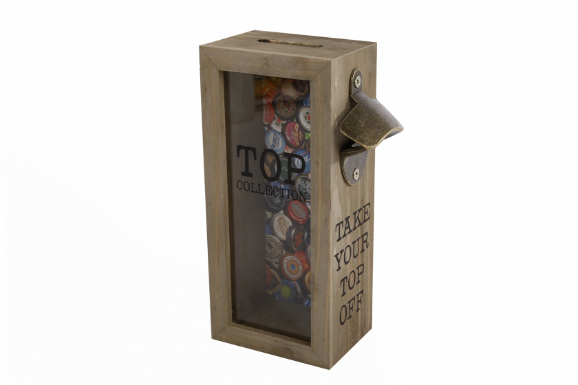 Van Manen flesopener 'Take your top off' 10x22x7 cm hout