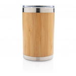 XD Collection koffiebeker 11,7 x 7,2 cm RVS/bamboe naturel